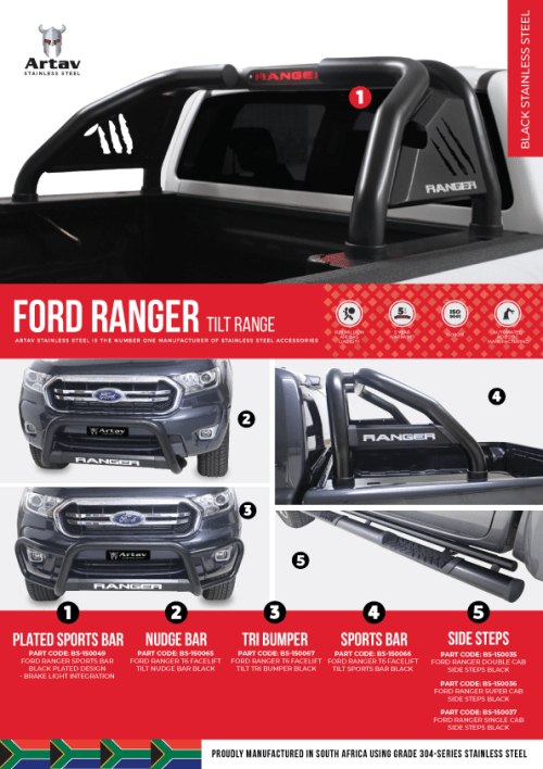 Ford Ranger T6 TILT Side Steps