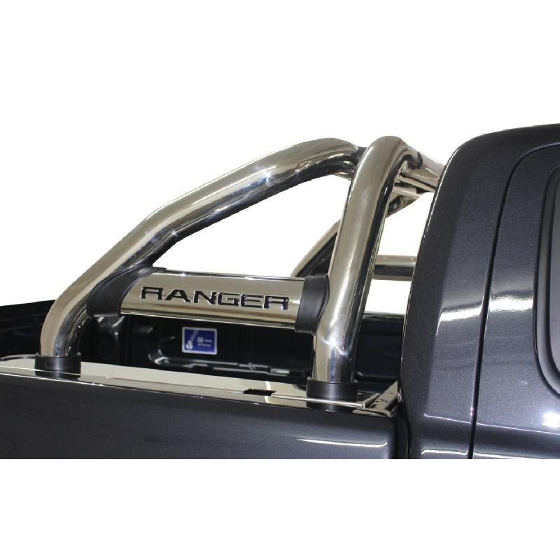 Ford Ranger T6 Facelift Sports Bar Stainless (Black Base Plates)