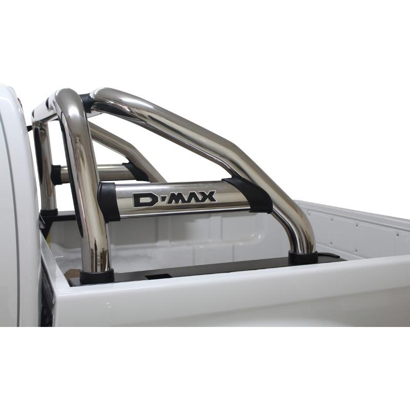 Isuzu DMAX Sports Bar Single Cab Stainless (Black Base Plates)